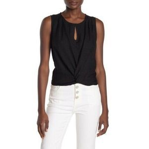 Joie Chayenne Twist Front Sleeveless Top Black